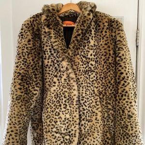 JOE FRESH faux leopard fur jacket